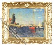 Miniature Replica Monet Painting in Frame for Dollhouses
