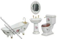 Miniature White w/Roses Porcelain Bath Set for Dollhouses