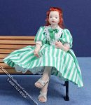 Girl with Red Hair in Green Striped Dress for Dollhouses