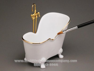 Miniature White Sitting Bathtub with Brass Faucets