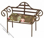 Miniature Metal Garden Bench w/Cushion for Dollhouses