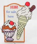 Miniature Ice Cream Shop Sign for Dollhouses