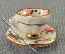 Dollhouse Scale Model Teacup with Saucer by Janice Crawley