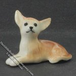 Miniature Porcelain Laying Chihuahua for Dollhouses