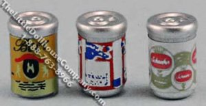 Dollhouse Scale Model Cans of Beer, 3/pk