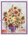 Dollhouse Scale Model Sunflower Theme Decorative Wall Tiles