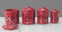 Miniature Assorted Red Canister Set for Dollhouses