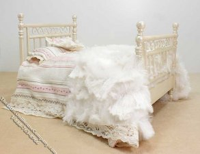 Miniature Dressed White Wood Bed by Danielle Designs