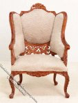Miniature New Walnut Upholstered Armchair for Dollhouses