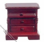 Miniature Mahogany 3 Drawer Night Stand for Dollhouses