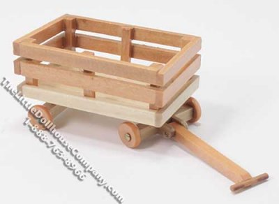 Miniature Wooden Wagon for Dollhouses