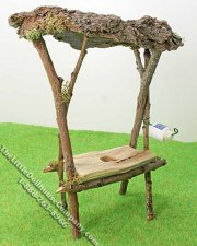 Miniature Outdoor Rustic Toilet Bench w/Roof for Dollhouses