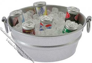 Dollhouse Scale Model Six Cans of Assorted Soda Pop in Ice Tub