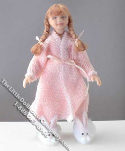 Long-Haired Girl in Pink Robe by Cindy's Dolls