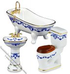 Miniature 3 piece Blue Rose Pattern Bathroom Set for Dollhouses