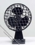 Dollhouse Scale Model Black Tabletop Fan (nonfunctional)