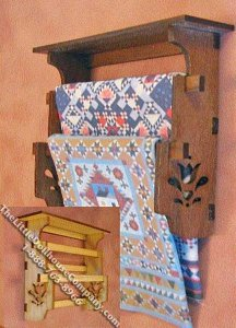 Miniature Walnut Wall Rack Quilt Display Kit for Dollhouses