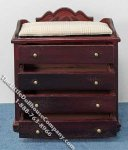 Miniature Mahogany Changing Dresser with Ecru Pad for Dollhouses