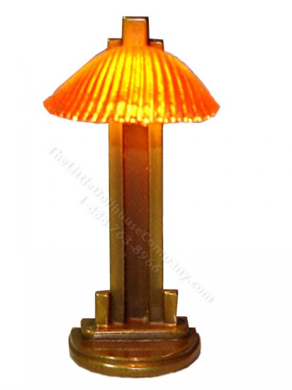 Miniature Art Deco Amber Clam Shell Lamp by Jim Pounder - Click Image to Close
