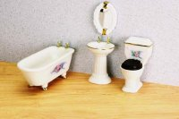 Four Piece Bathroom Set for Dollhouses