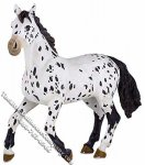 Miniature Black and White Appaloosa Horse for Dollhouses