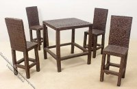 Miniature Faux Wicker Resin Table & 4 Chairs for Dollhouses