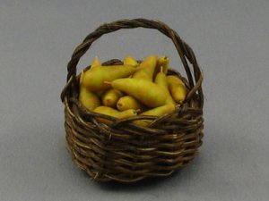 Dollhouse Scale Model Round Basket with Pears
