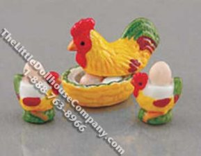 Dollhouse Scale Model Chicken Themed Cooked Egg Set