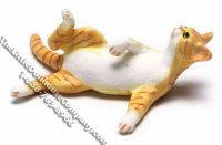 Dollhouse Scale Model Orange & White Cat Reclining
