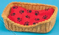 Miniature Rectangular Dog Basket Bed for Dollhouses