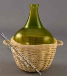 Dollhouse Scale Model Wine Jug in White Basket