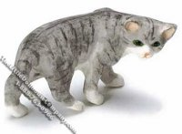Dollhouse Scale Model Gray & Black Striped Cat Looking