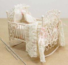 Miniature Dressed Rocking Cradle by Danielle Designs