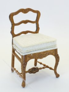Miniature Ladder Back Chair with Cushion Seat for Dollhouses