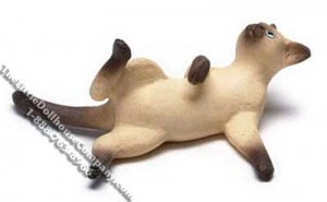 Dollhouse Scale Model Siamese Cat Reclining