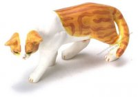 Dollhouse Scale Model Orange Cat Walking