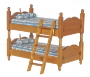 Miniature Walnut Bunkbed with Ladder for Dollhouses