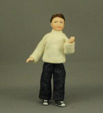 Boy in White Pullover and Jeans by Cindy's Dolls