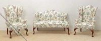 Miniature Flower Patten Sofa & 2 Wing Chairs Set for Dollhouses