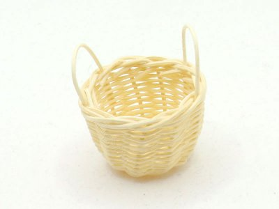 Miniature Round Woven Basket with Side Handles for Dollhouses