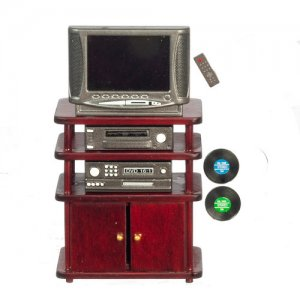 Miniature Mahogany Entertainment Center with TV for Dollhouses