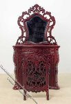 Miniature Mahogany Fireplace with Wooden Screen for Dollhouses