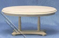 Miniature Unfinished Oval Pedestal Table for Dollhouses
