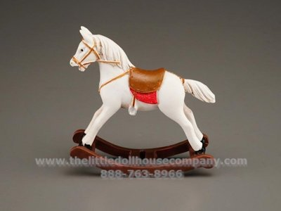 Miniature White Rocking Horse for Dollhouses