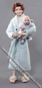 Woman in Robe with Baby & Bottle by Patsy Thomas for Dollhouses