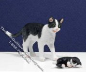 Dollhouse Scale Model Black & White Cat with Socks Kitten