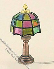 Miniature 1/2 Scale 12v Tiffany Style Table Lamp for Dollhouses