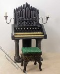 Miniature Pipe Organ with Green Bench for Dollhouses
