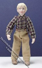 Miniature Child in Brown Shirt and Pants by Patsy Thomas
