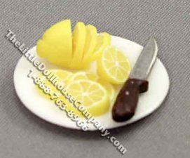 Miniature Sliced Lemon on a Plate with Knife for Dollhouses